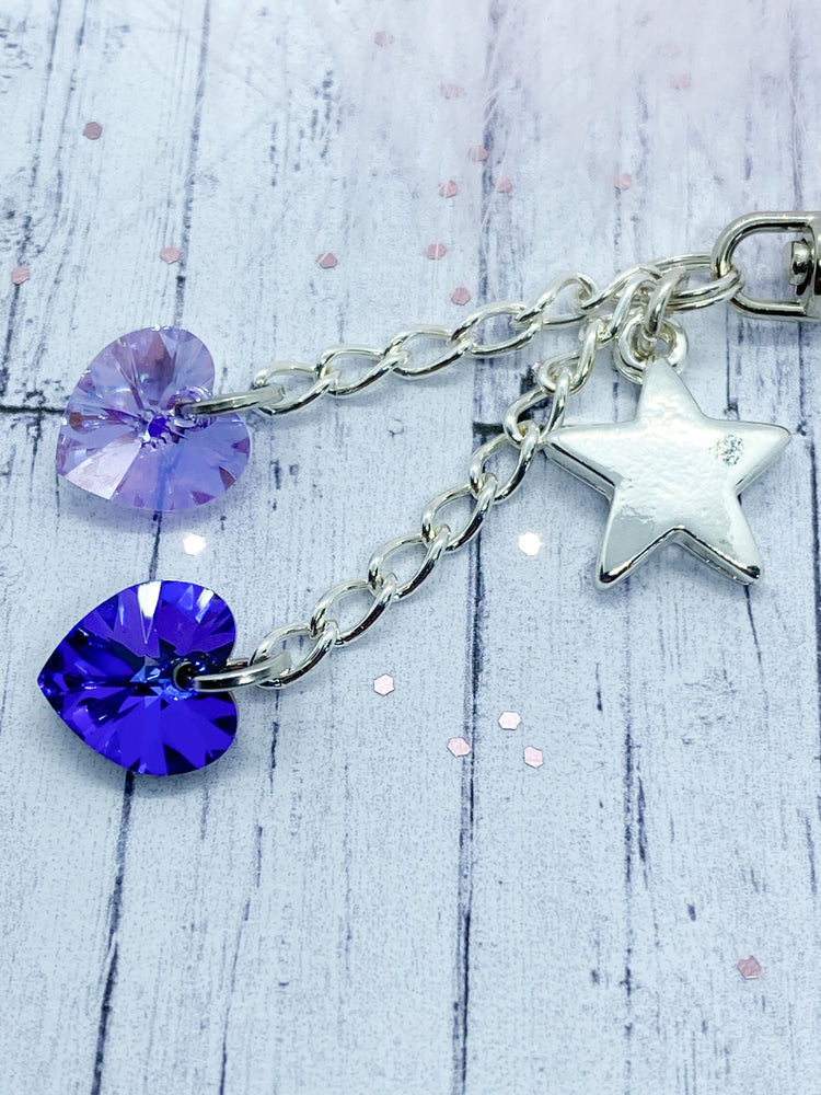 Star charm and crystal key ring - Eve and Flamingo