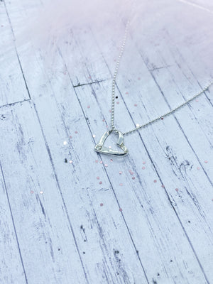 Sterling Silver ribbon heart - Eve and Flamingo