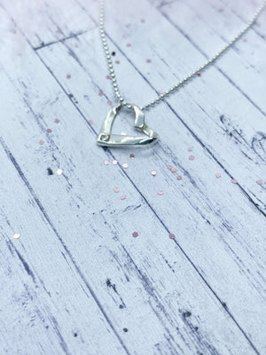 Sterling Silver ribbon heart pendant - Eve and Flamingo