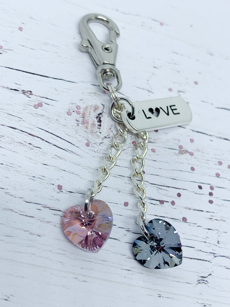 Swarovski Duo Crystal key ring with Love tag - Amethyst Shimmer - Eve & Flamingo