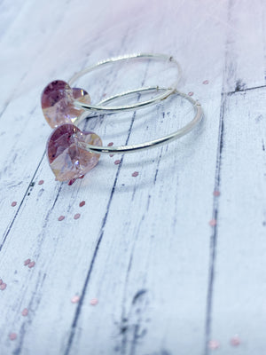 Silver hoops with Crystal hearts - Eve and Flamingo