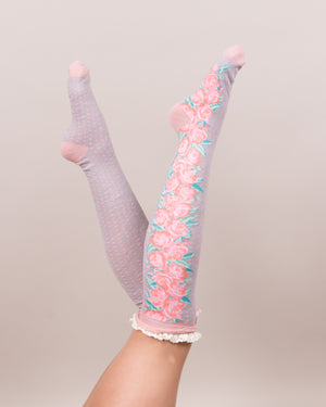 Climbing rose knee socks - Eve & Flamingo