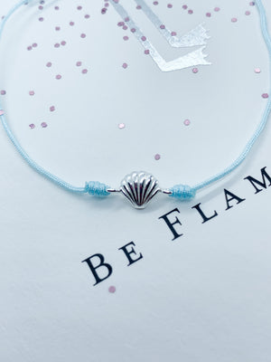Nylon cord adjustable bracelet with Sterling silver shell charm - Eve & Flamingo