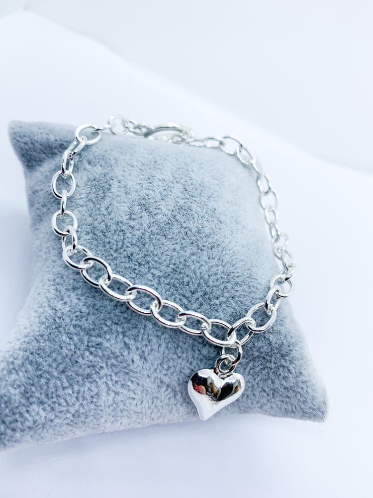 Silver Plated charm toggle bracelet - heart or star pendant - Eve & Flamingo