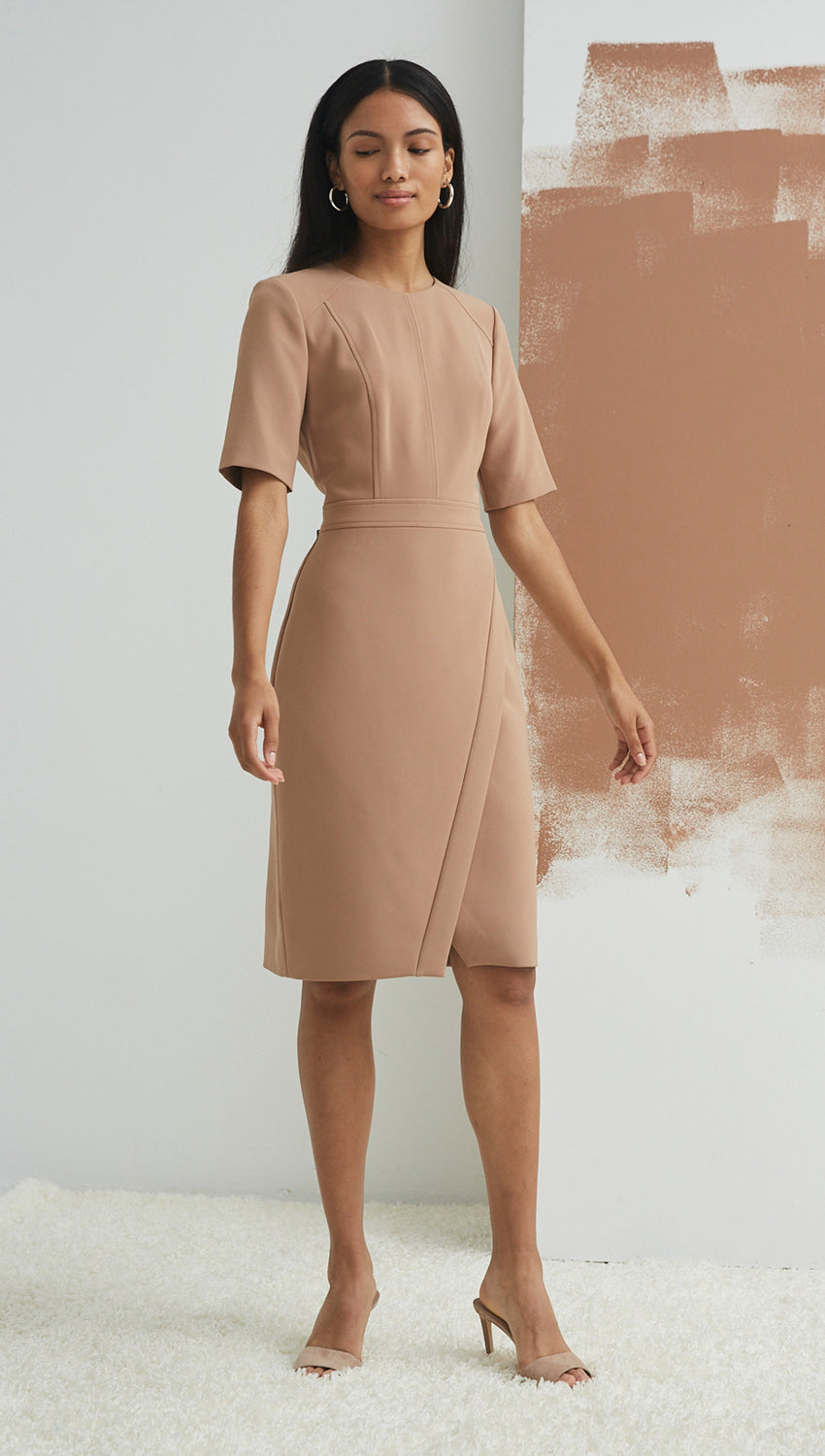 Short Sleeve Wrap Sheath in Camel