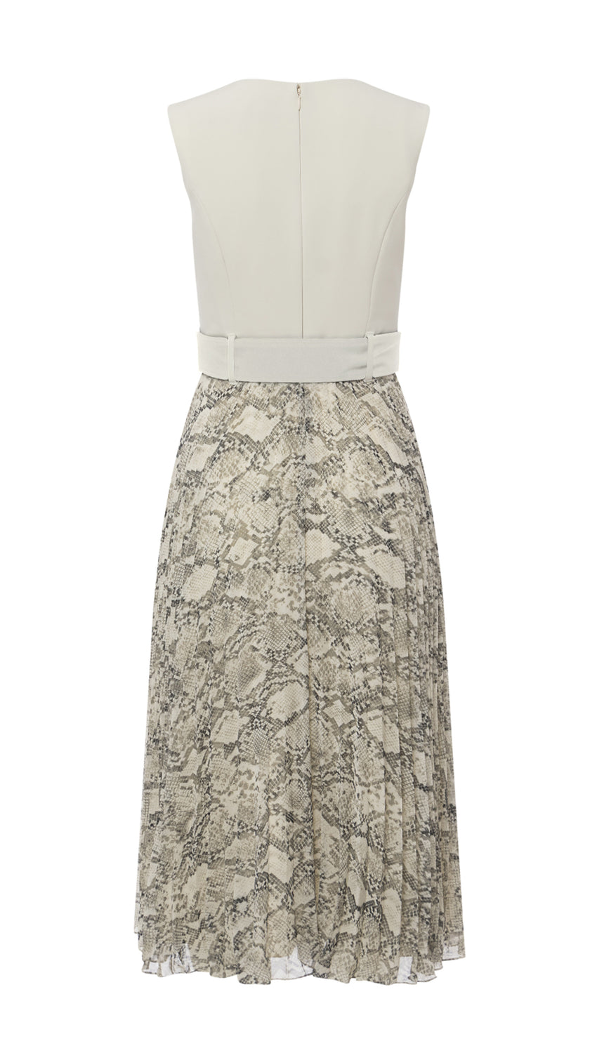 Zip-Front Pleated Midi in Vanilla/Natural Python