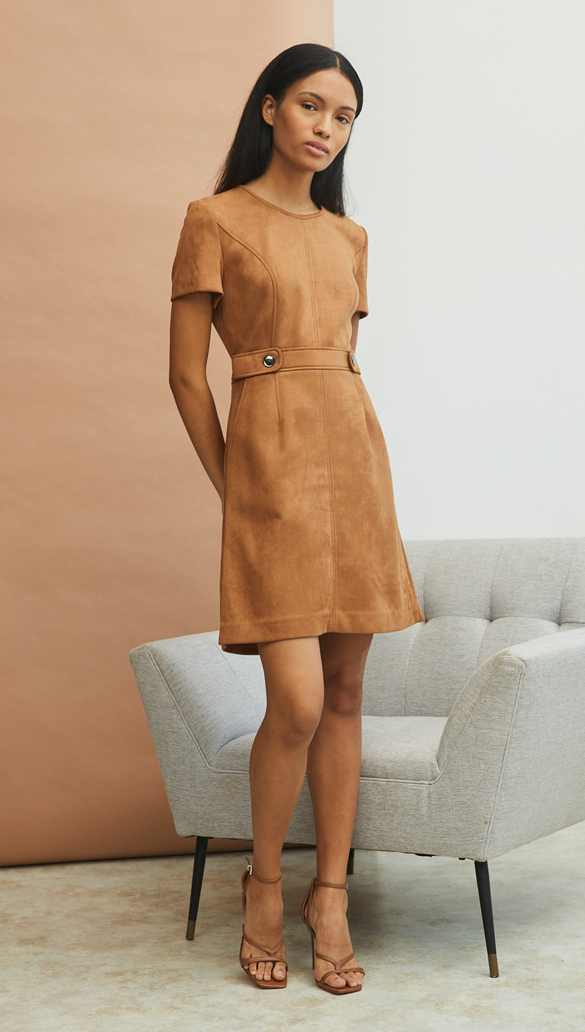 A-Line Tee Dress in Cognac Faux Suede