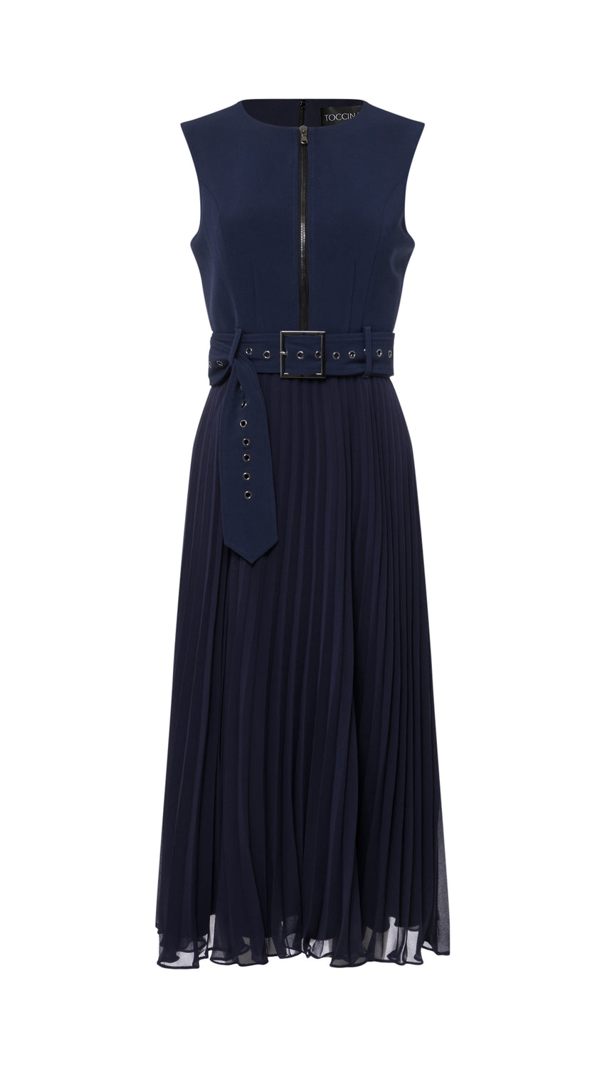 Zip-Front Pleated Midi in Navy