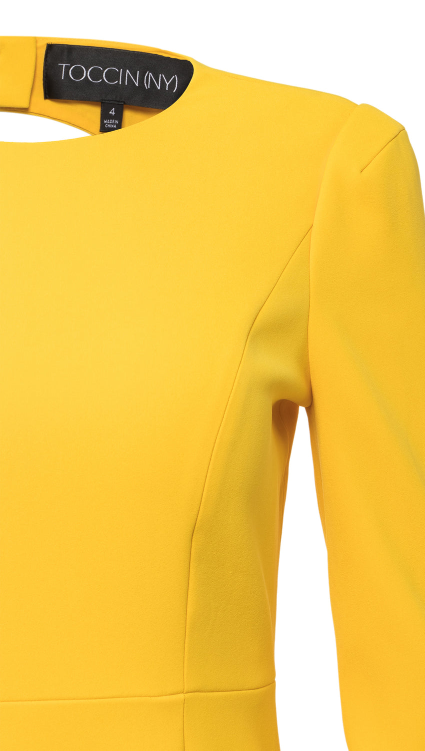 Strong Shoulder Backless Sheath in Yellow