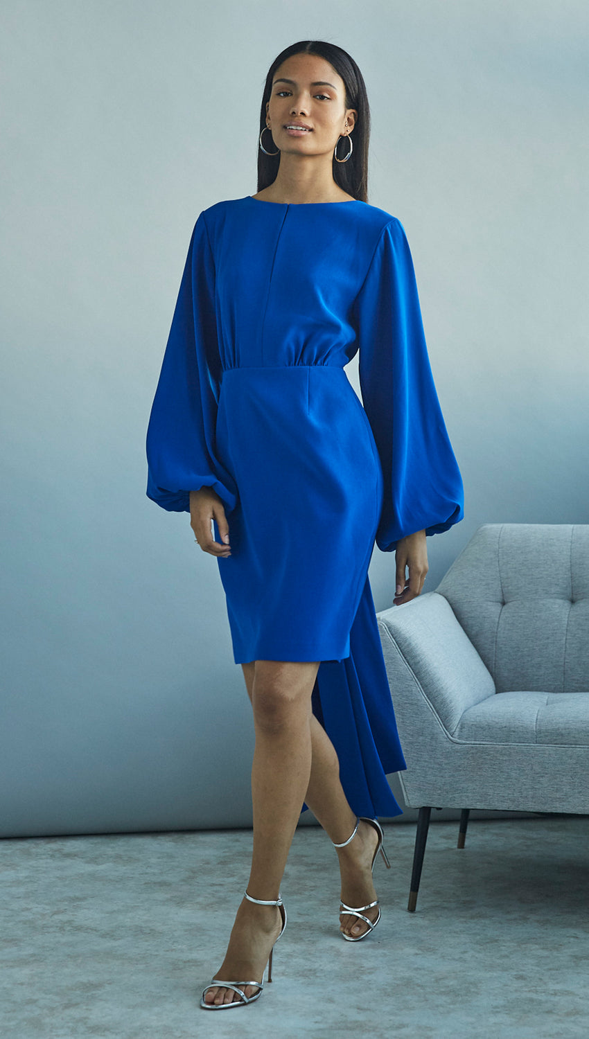 Tie Back Blouson Dress in Cobalt