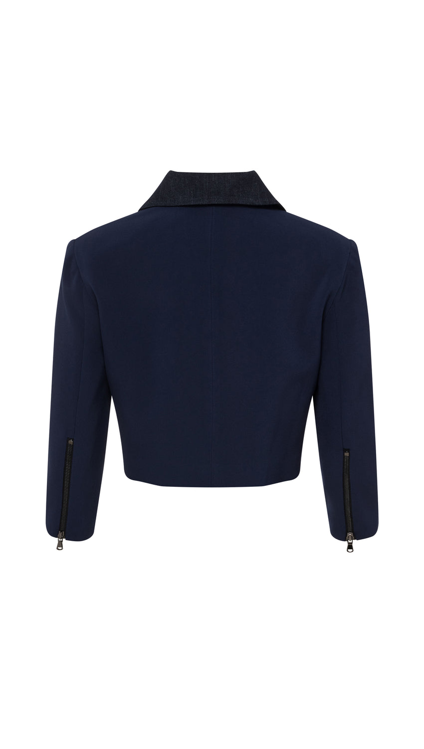 Colorblocked Cropped Moto in Navy + Denim