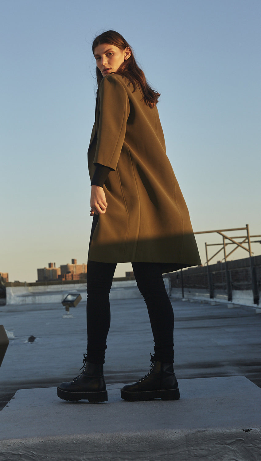 Cocoon Coat in Olive