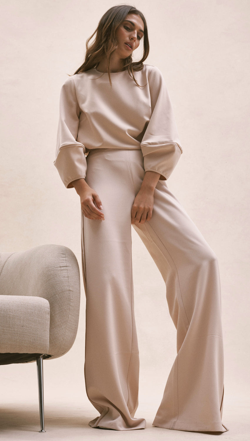 Wide Leg Trouser with Piping in Sand