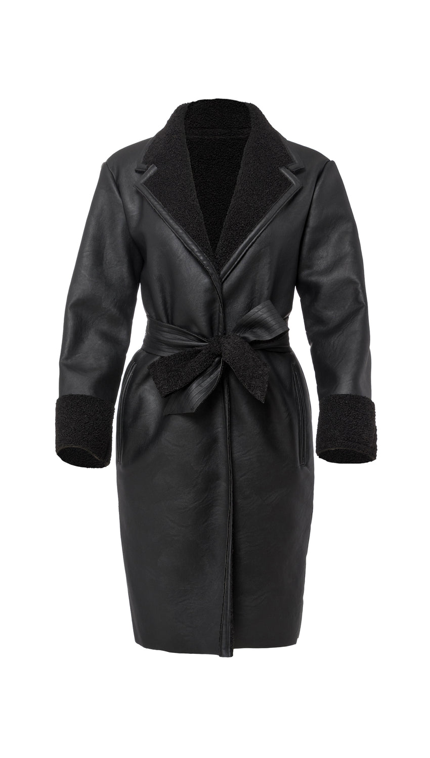 Faux Shearling Wrap Trench in Jet