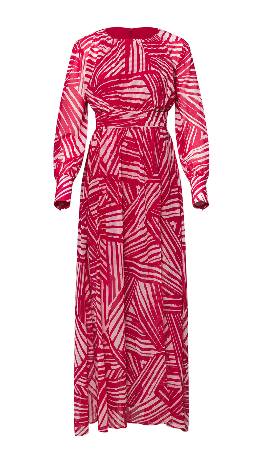 Blouson Maxi in Raspberry + Optic Brushstroke