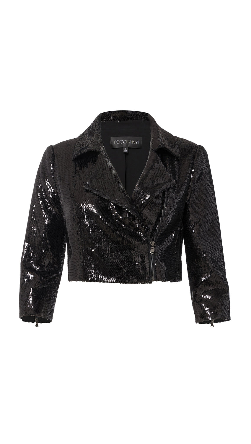 Sequin Cropped Moto in Jet