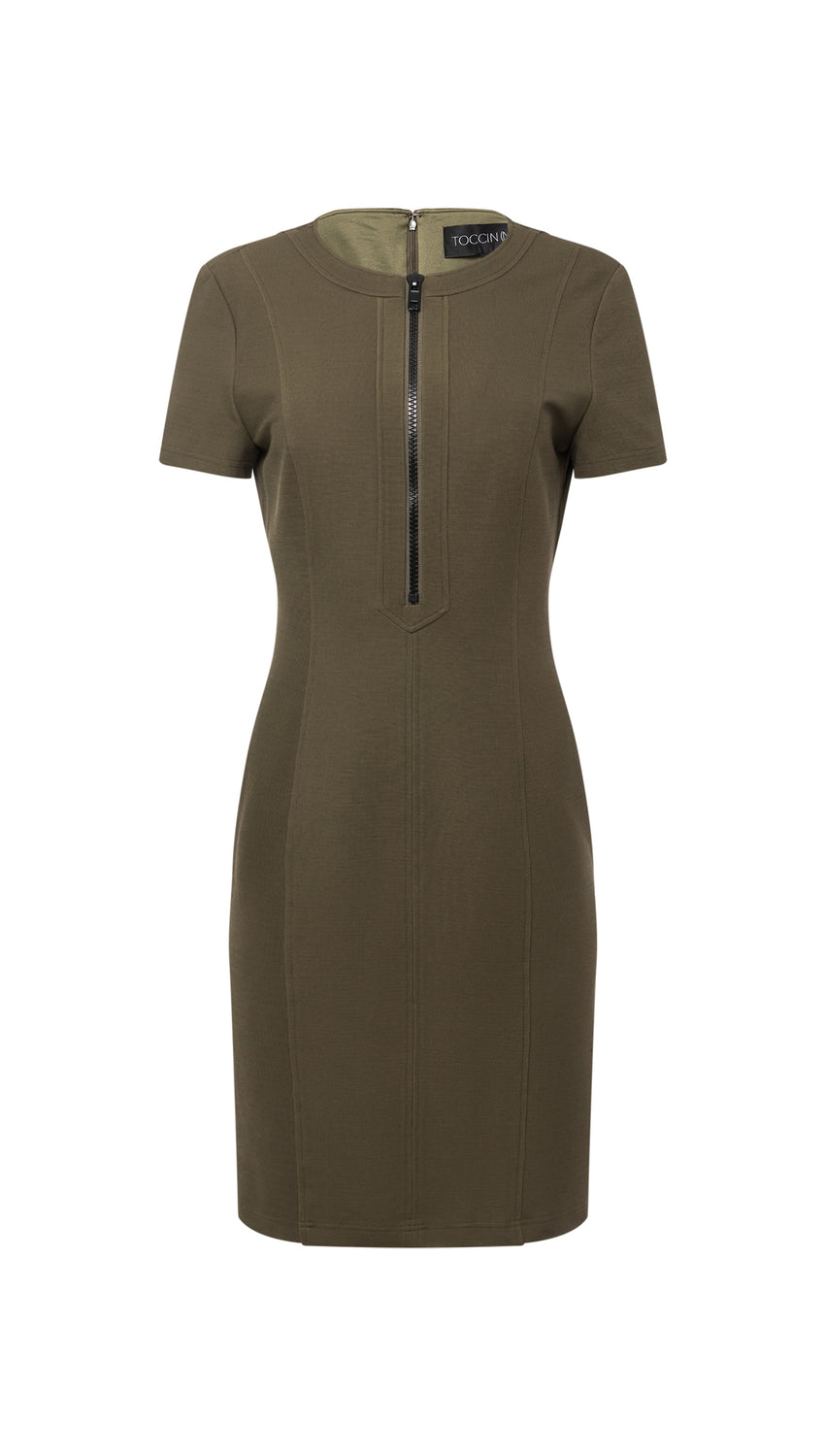 Zip-Front Tee Sheath in Olive