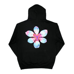 FLOWER PULL ON BLACK HOODY