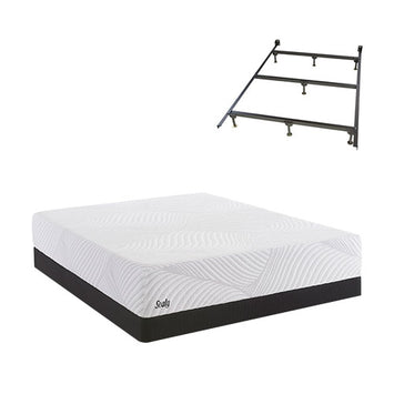 Sealy SMB Optmistc Plush Split Queen Low Pro Set w Frame - Sealy Conform Essentials Mattress