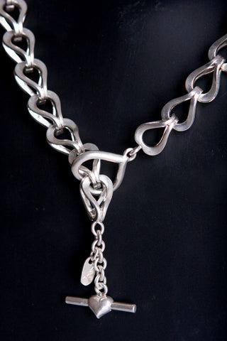 "Hand carved and cast sterling silver 30"" necklace with Toggle"