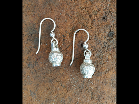 Hammered Silver Ball Earrings