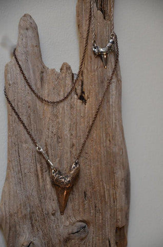 Silver and Bronze Shark Tooth Necklace