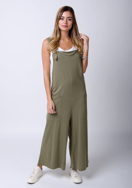 Ladies khaki wide-leg cotton jersey dungarees from Dungarees Online.
