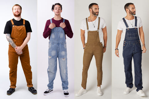 Range of Men's dungarees in a variety of colours and materials.