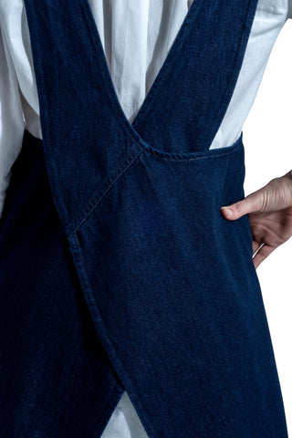 Japanese style crossback no-tie denim apron