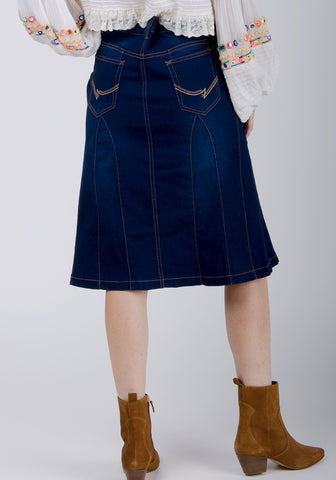 kim indigo denim knee-length skirt
