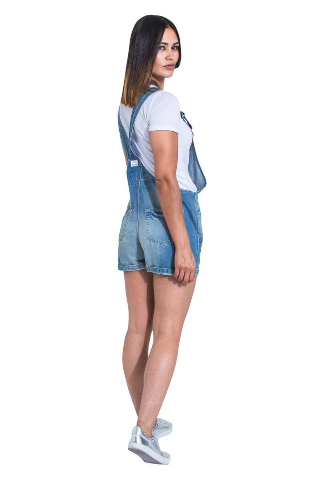 XENYA Womens Oversized Denim Dungaree Shorts - Aged Wash