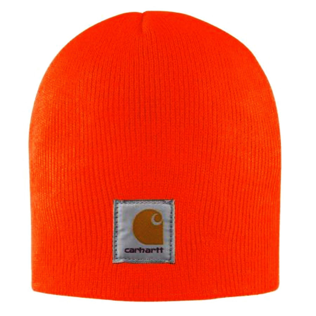 Carhartt rib knit traditional beanie in bright red-orange.