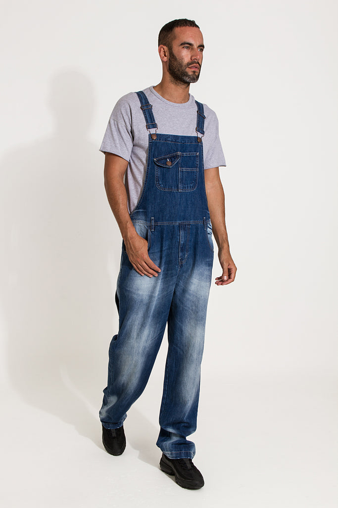 Stevie Super Loose Fit Mens Dungarees - Faded Blue