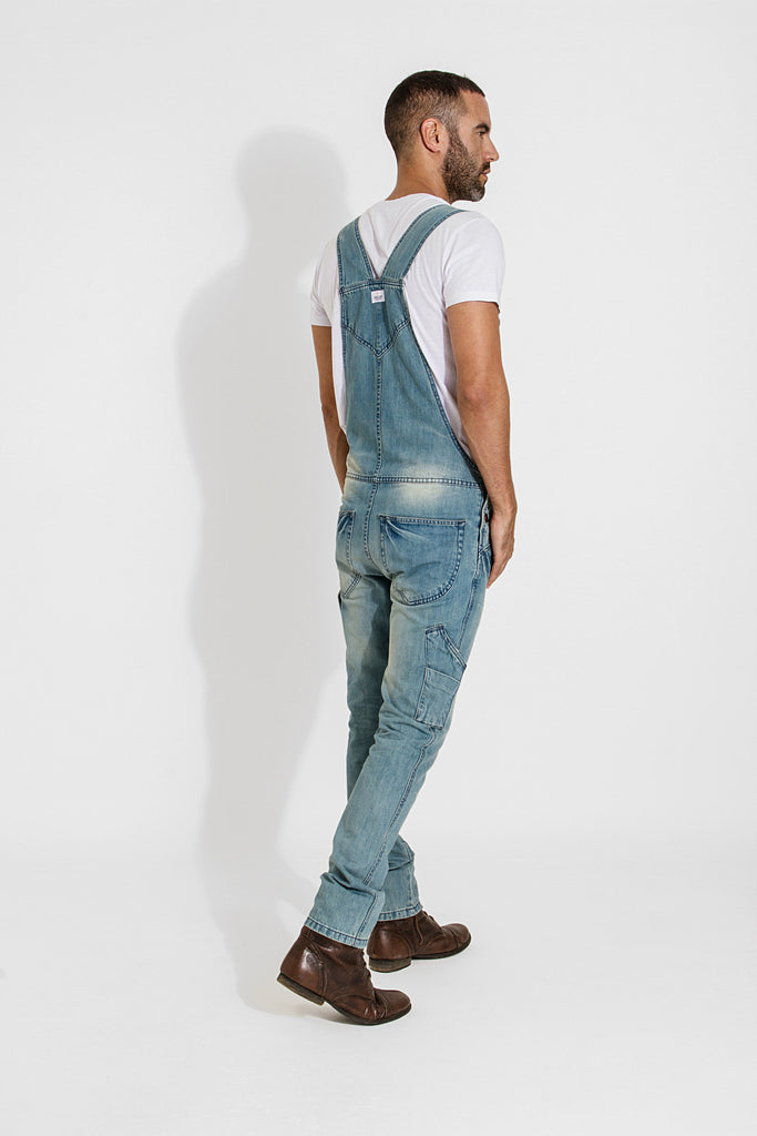 Toby Slim Fit Dungarees - Aged Blue - dungarees-online