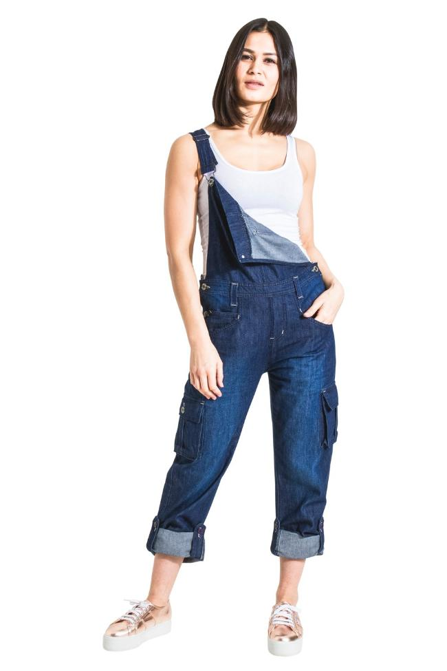 Womens Denim Dungarees with roll-up leg Indigo (UK8/EU36 only)