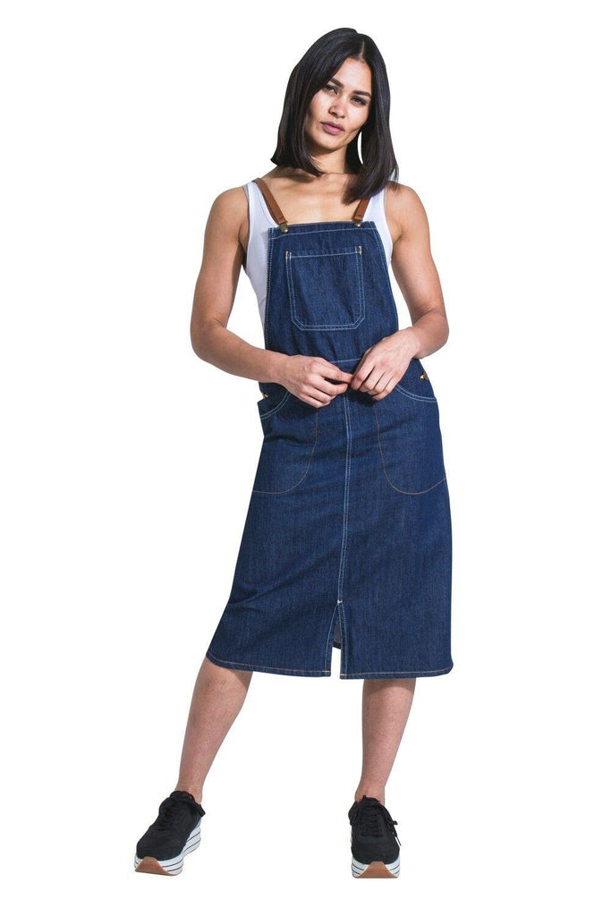 Midi Denim Dungaree Dress with braces