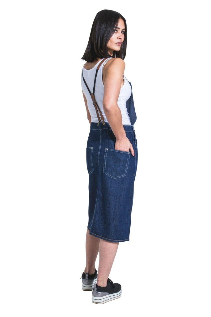SKYLAR Midi Denim Dungaree Dress with braces - dungarees-online