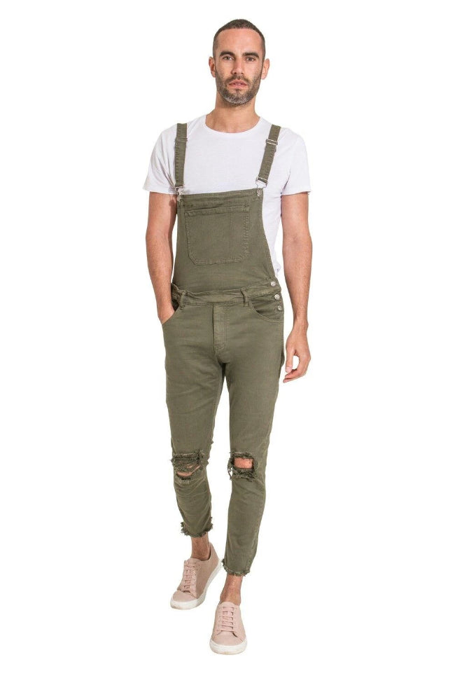 Theo Mens Slim Fit Dungarees with detachable bib - dungarees-online