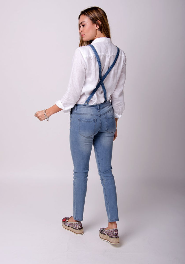 Talia Skinny Fit Dungarees - Blue - dungarees-online