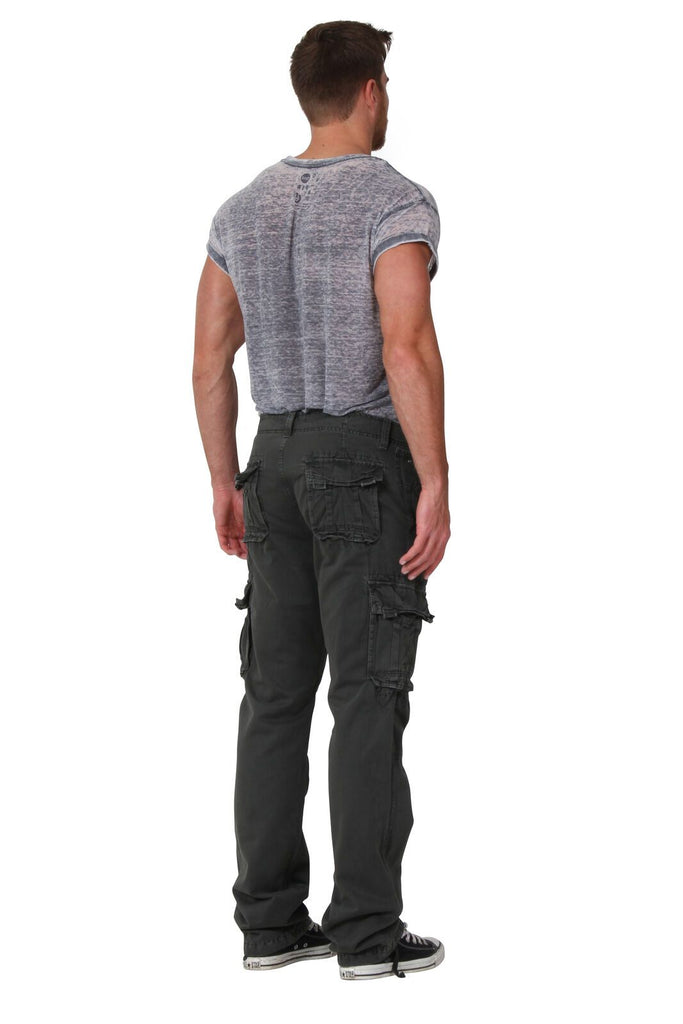 Angled rear view of 'Aaron' style, casual cotton mix cargo trousers from Dungarees Online, with view of belt loops and back pockets.