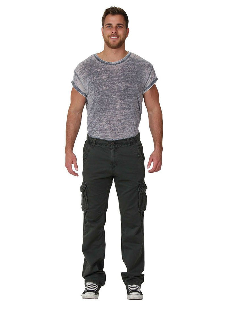 Full frontal view of 'Aaron' style, casual cotton mix cargo trousers in olive.