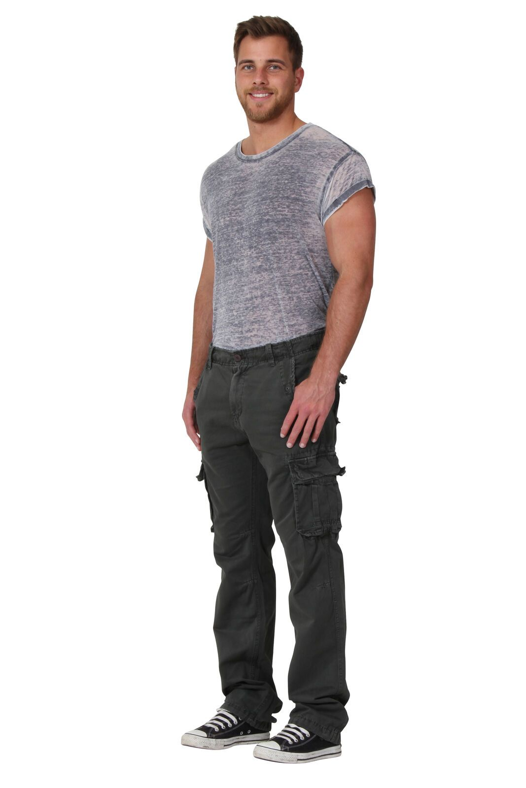 Angled front-side view of 'Aaron' style, casual cotton mix cargo trousers in olive.
