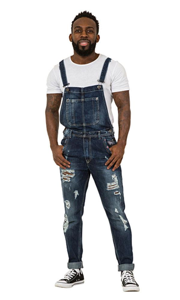 Full frontal facing ahead wearing 'Alan' brand Mens Destroyed Denim Dungarees.
