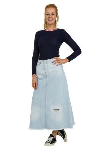Full frontal view of slightly stretchy, ankle length palewash denim skirt with abrasions.