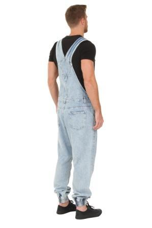 Rear-side view of 'Ethan' brand men's blue acid wash bib-overalls.