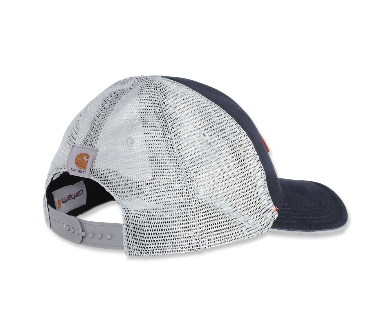Angled rear of Carhartt CH104335 Silvermine Cap showing silver, 100% polyester mesh and Carhartt sewn label.