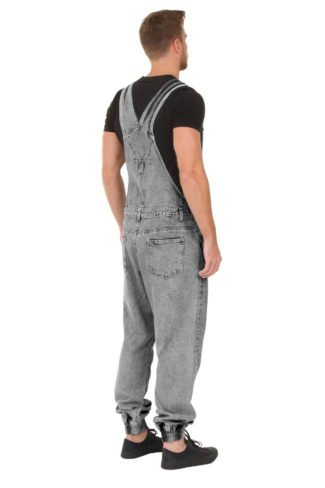 Rear-side view of 'Ethan' brand men's grey acid wash bib-overalls.