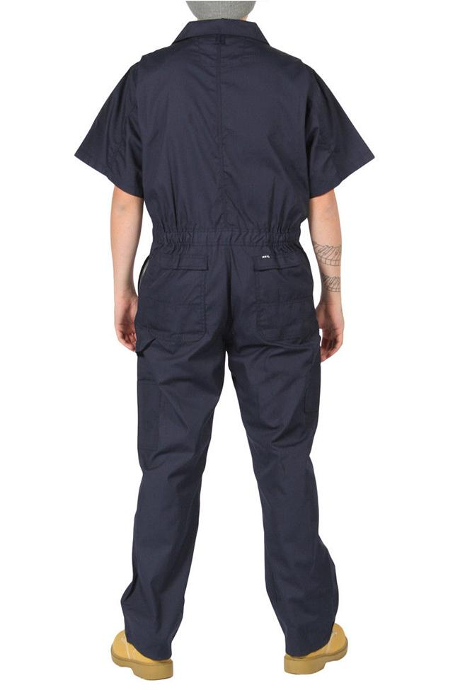Full rear view of dark blue 'Key USA' coverall, showing pleated back and large, reinforced rear pockets.