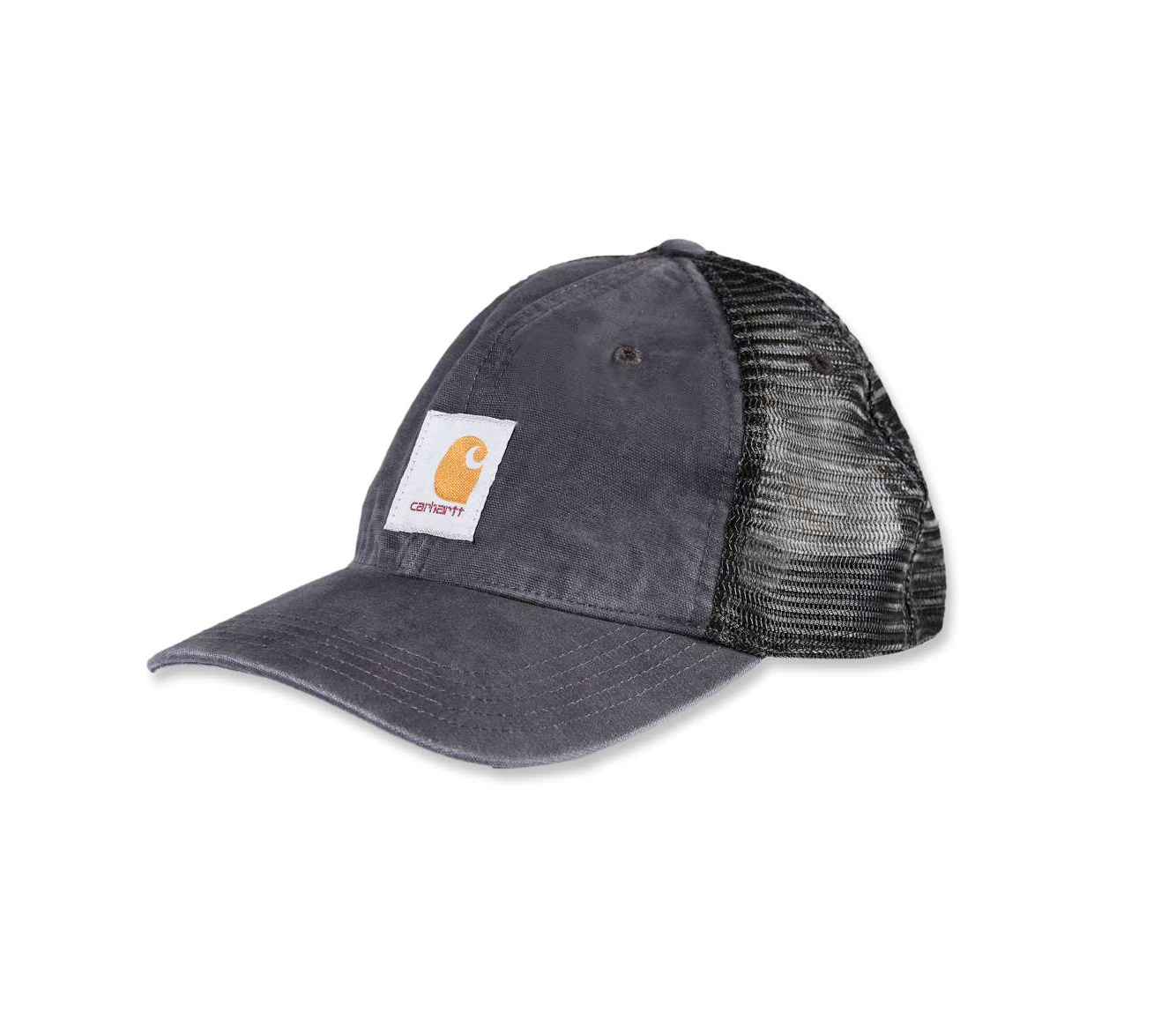 Carhartt Buffalo CH100286 adjustable black cap with breathable mesh rear.