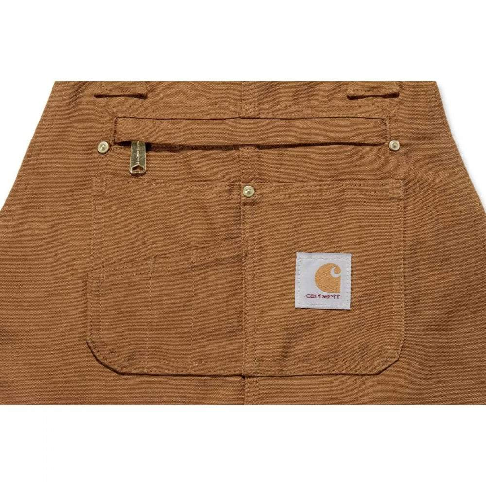 Cotton duck brown unlined bib overall with multi compartment bib pocket with secure zipper closure.